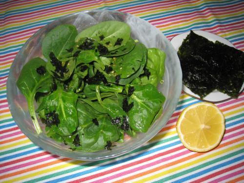 Salade d'épinards au nori